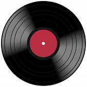 foto of lp  - Vintage music record concept with a red vinyl lp album disc and light reflection - JPG