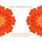 foto of macrame  - vector delicate red lace round mandala pattern - JPG