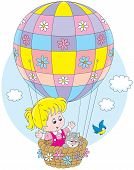 pic of kiddie  - Little girl travelling with her kitten on a colorful air balloon with flowers - JPG