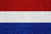 picture of holland flag  - flag of Holland or Dutch banner on linen background - JPG