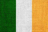 picture of irish flag  - flag of Ireland or Irish banner on linen background - JPG