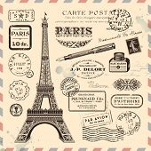 stock photo of handwriting  - Paris postage design elements - JPG