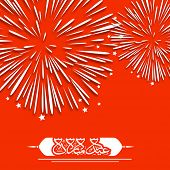 stock photo of eid al adha  - Arabic Islamic calligraphy of text Eid Mubarak on fire crackers explosion red  background for celebration of Muslim community festival - JPG