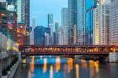 stock photo of willy  - City of Chicago downtown and River with bridges at dusk - JPG