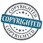 image of plagiarism  - copyrighted blue round grungy stamp isolated on white background - JPG