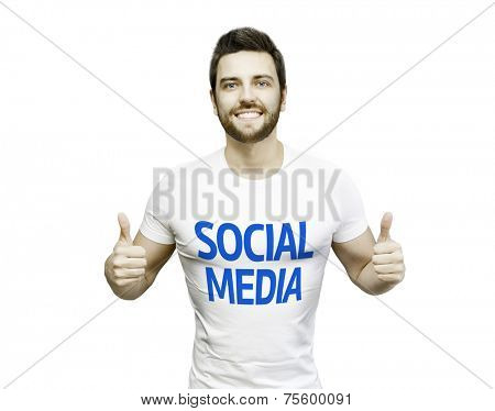 Social Media Campaign by a man on white background