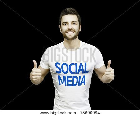 Social Media Campaign by a man on black background