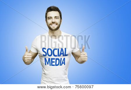 Social Media Campaign by a man on blue background
