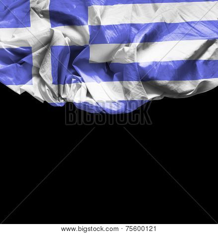 Greece waving flag on black background