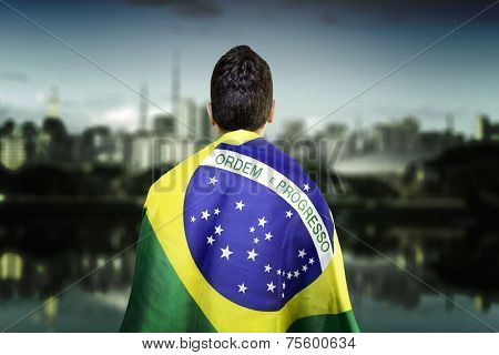 Man holding the brazilian flag in Ibirapuera Park, Sao Paulo, Brazil