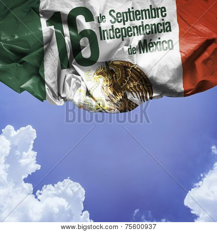 September, 16 Independence of Mexico - 16 de Septiembre, Independencia do Mexico on a blue sky