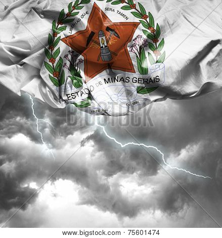 Minas Gerais Coat of Arms waving flag on a bad day