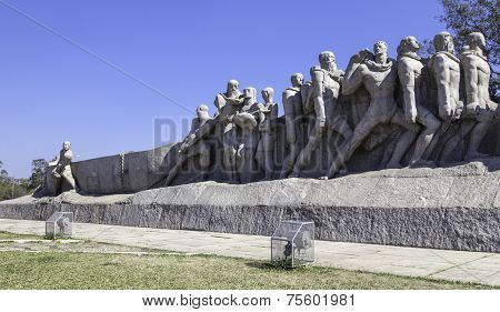 SAO PAULO, BRAZIL - AUG 3: The Bandeiras Monument on August 3, 2013 in Sao Paulo, Brazil. The Monument to the Bandeiras is a stone sculpture group by Victor Brecheret, located in Sao Paulo, Brazil