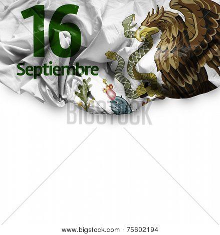 September, 16 Independence of Mexico - 16 de Septiembre, Independencia de Mexico on white background