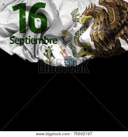 September, 16 Independence of Mexico - 16 de Septiembre, Independencia de Mexico on black background