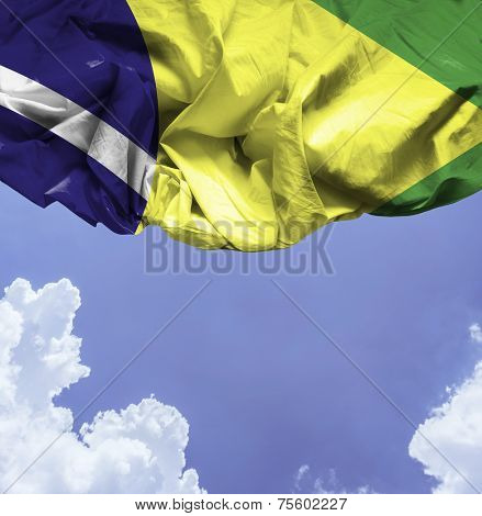 Brazil waving flag on a beautiful day
