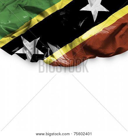 Saint Kitts and Nevis waving flag on white background
