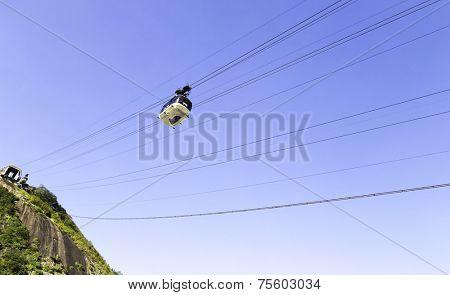 RIO DE JANEIRO, BRAZIL - CIRCA NOV 2013: Overhead cable car approaching Sugarloaf Mountain, Guanabara Bay, Rio De Janeiro, Brazil