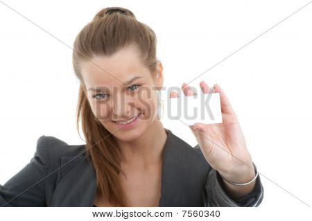 Picture Of Young Beautiful Business Woman Holding A Blank Card