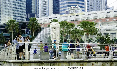 SINGAPORE - CIRCA MAY 2014: Close-up on the Merlion Monument in Singapore. The mythical Merlion, a creature with the head of a lion and the body of a fish, is the symbol of Singapore.