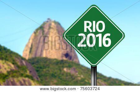 Rio 2016 sign in Rio de Janeiro, Brazil