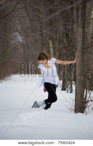Fashion Model Posing In Winter