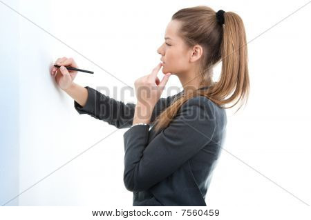 Portrait of young Business Woman Holding Stift in der hand