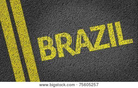 Brazil written on the road
