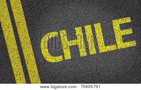 Chile written on the road