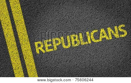 Republicans written on the road