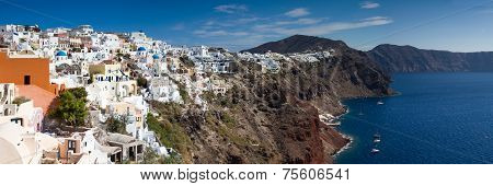 Panorama Of Cycladic Village Of Oia