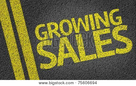 Growing Sales written on the road