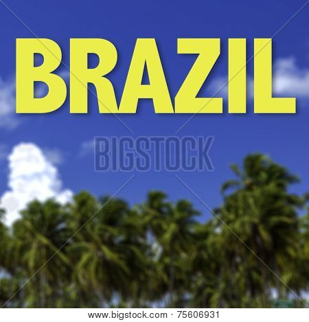Brazil written on a beautiful beach background