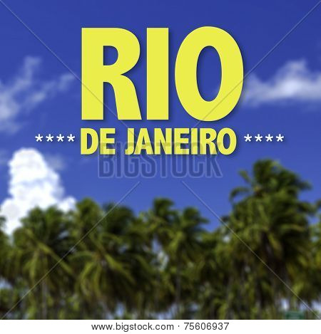 Rio de Janeiro written on a beautiful beach background