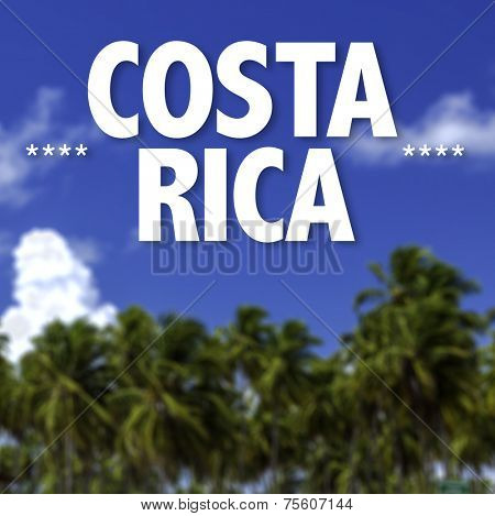 Costa Rica written on a beautiful beach background