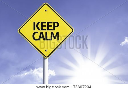 Keep Calm road sign with sun background