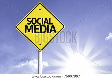 Social Media road sign with sun background