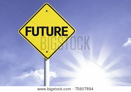 Future road sign with sun background