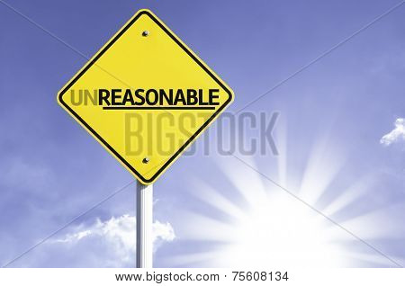 Unreasonable road sign with sun background