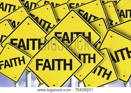 Faith written on multiple road sign