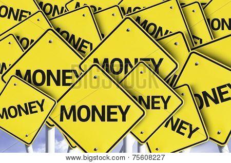 Money written on multiple road sign