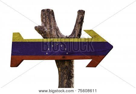 Venezuela wooden sign isolated on white background