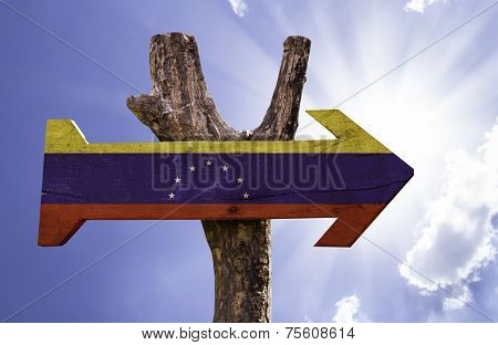 Venezuela wooden sign on a beautiful day