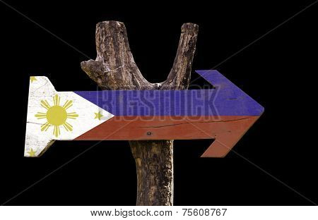 Philippines wooden sign isolated on black background