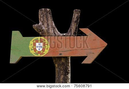 Portugal wooden sign isolated on black background