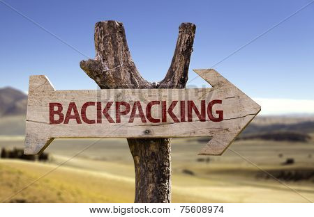 Backpacking wooden sign isolated on desert background
