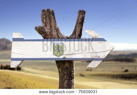 Jerusalem wooden sign isolated on desert background