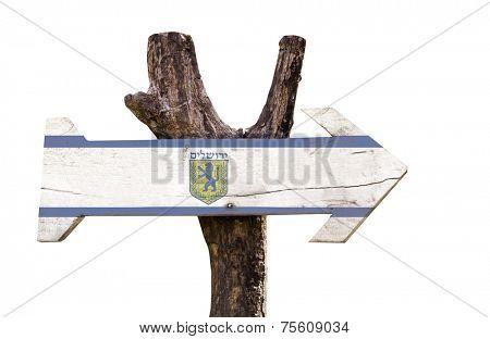 Jerusalem wooden sign isolated on white background