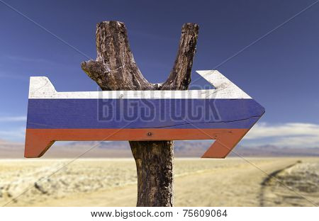 Russia wooden sign isolated on desert background