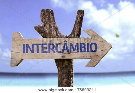 """Intercambio"" (In portuguese - Student Exchange Program) wooden sign with a beach on background"